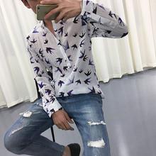 2017夏季超薄印花衬衫长袖圆领套头英伦休闲衬衣 褶皱雪纺花衬衫