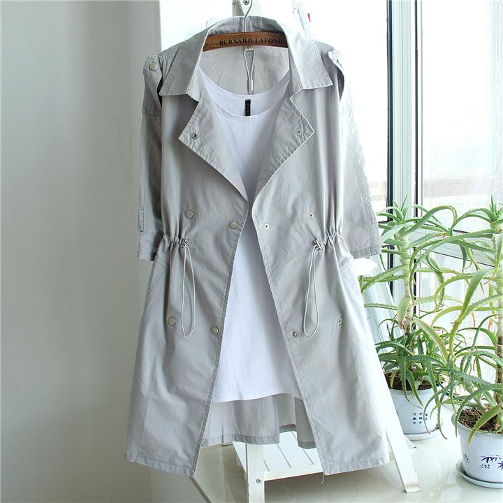 纯色长款风衣春夏韩版外套开衫修身女中显瘦大码七分袖