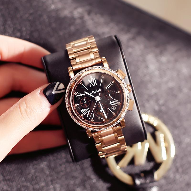 奢华三眼日历钢带女腕表石英时装链条手表包邮 mashali 玛莎莉