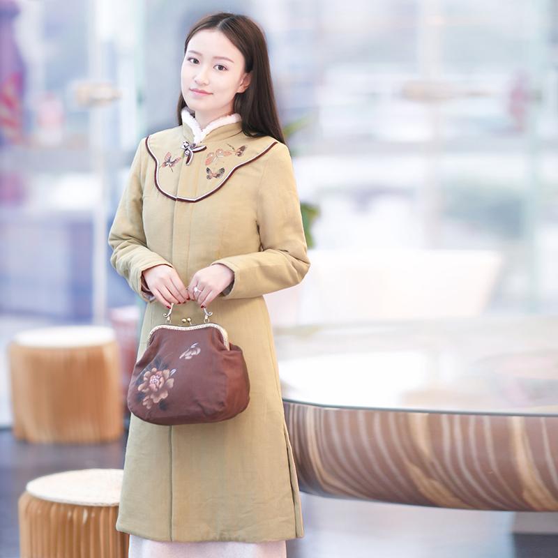 伶俐柠檬90501棉麻手绘女装中国风原创文艺范民族风2016棉衣现货