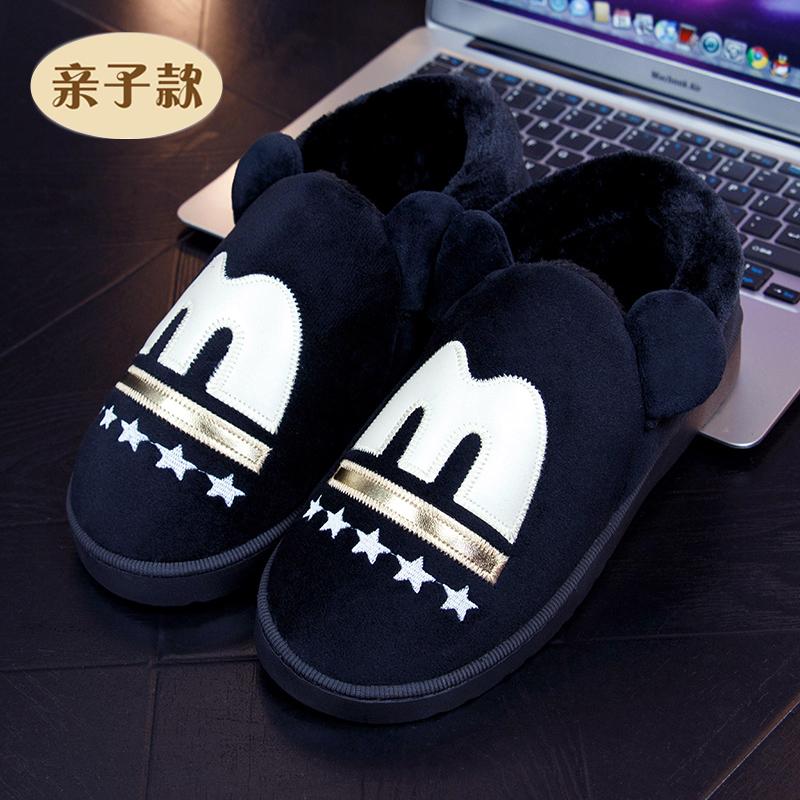 秋冬季儿童棉拖鞋卡通包跟家居中小童厚底保暖防滑毛拖鞋亲子棉鞋