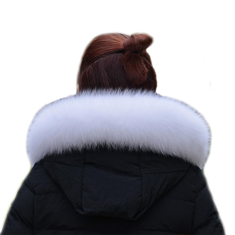 真狐狸毛浅米色帽领超大毛领子彩色羽绒服帽条米白色毛条皮草围脖