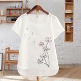 夏季女装体恤白色纯棉 棉麻上衣刺绣花半袖短袖纯色大码宽松t恤女