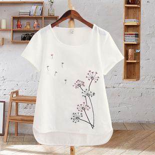 夏季女装体恤白色纯棉圆领上衣刺绣花半袖短袖纯色大码宽松t恤女