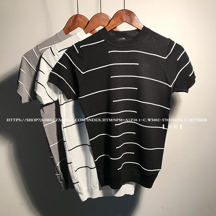 春夏潮男针织高领条纹圆领线衣体恤冰凉青年打底半袖神器