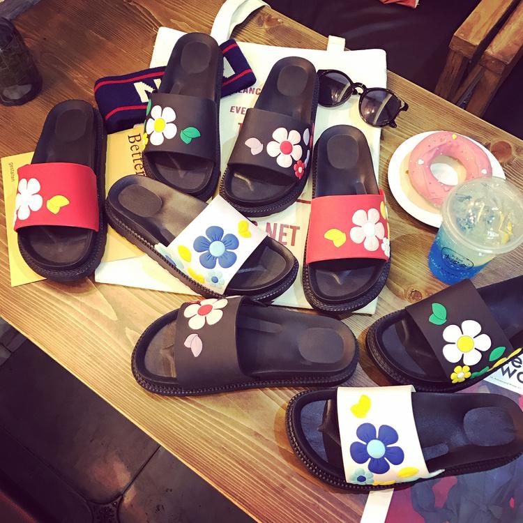夏季拖鞋立体沙滩鞋一字拖厚底欧美花朵