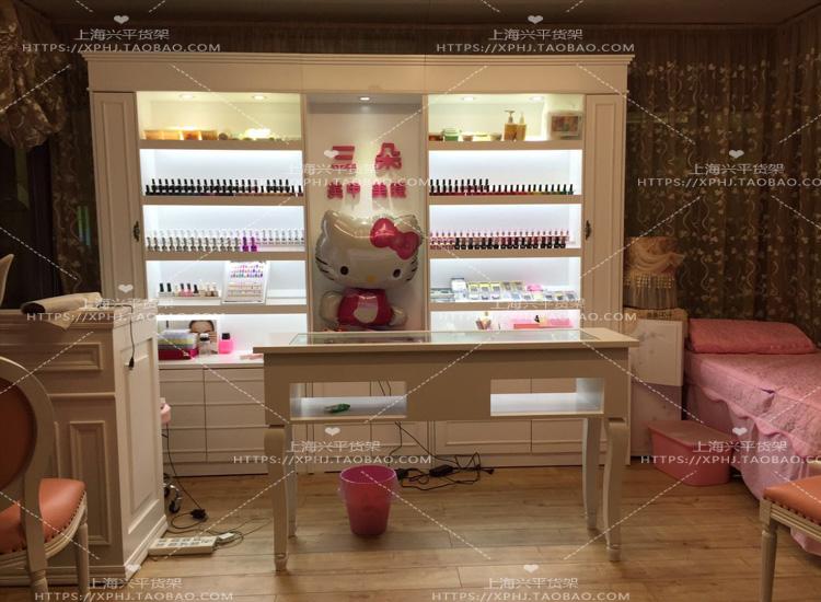 欧式美容院护肤产品柜化妆品展示柜木质美甲油展柜