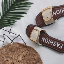 欧美风鞋子女夏韩版一字扣学生平底沙滩英伦凉鞋凉鞋2017新款女潮