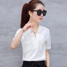 2017新款夏装短袖白衬衫女装韩范OL职业装大码宽松雪纺衫女士衬衣