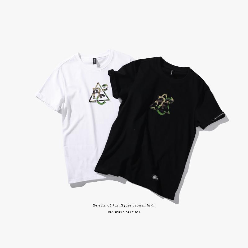 原创设计师男装 迷彩几何logo印花创意t恤男短袖 欧美潮牌打底衫