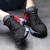 夏季新款网面减震运动鞋男黑色轻便跑步鞋时尚厚底编织透气休闲鞋