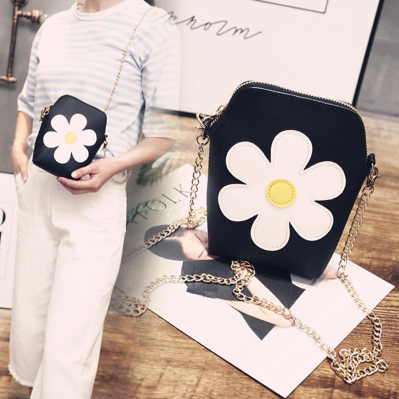 可爱甜美单肩包包包链条挎包时尚春夏潮花朵包女小女包斜