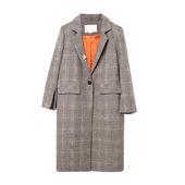 2017秋新款女欧美时尚千鸟格一粒扣中长款西装风衣外套DMW708436