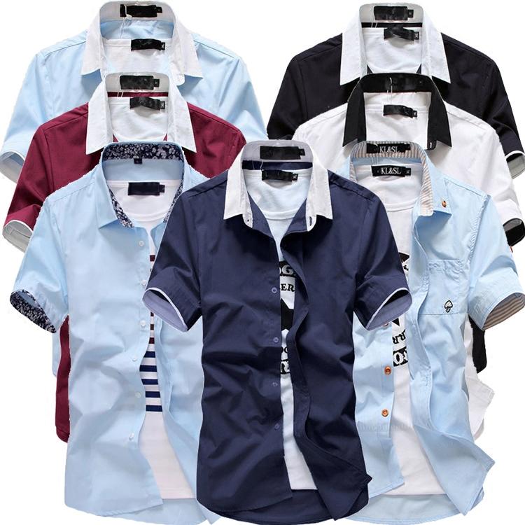 男士衬衣打底衬衫短袖修身职业伴郎夏季商务上班