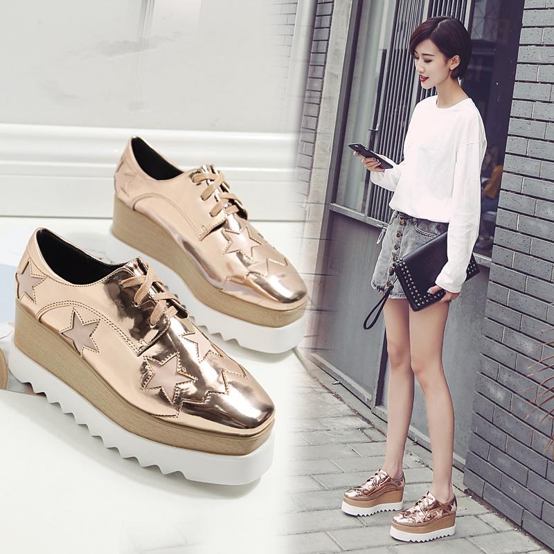 增高女鞋单鞋站松糕鞋女春秋系带欧洲坡跟厚底韩版星星方头