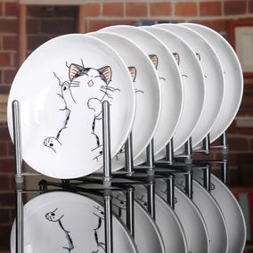 6个陶瓷菜盘子 家用7英寸-8英寸圆盘酒店饭盘卡通碟子微波炉餐具