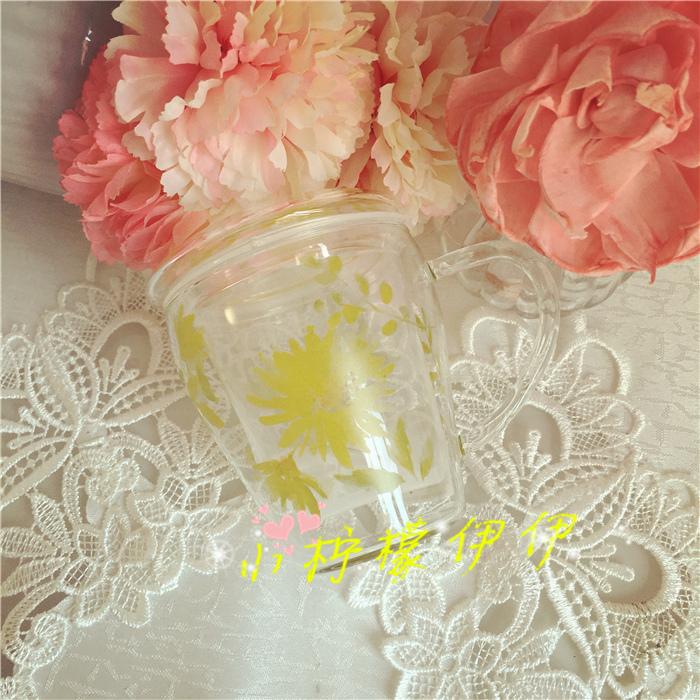 【现货】日本Afternoon tea耐热玻璃水粉水彩插画马克杯附滤茶器
