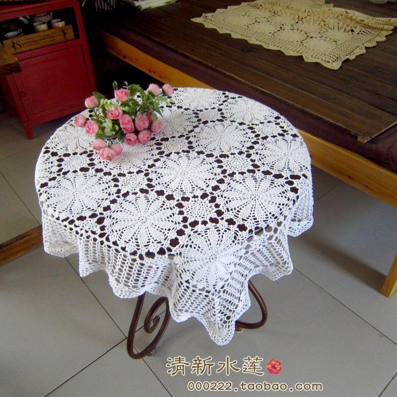 欧式田园手工钩针花朵纯棉蕾丝镂空沙发巾桌布