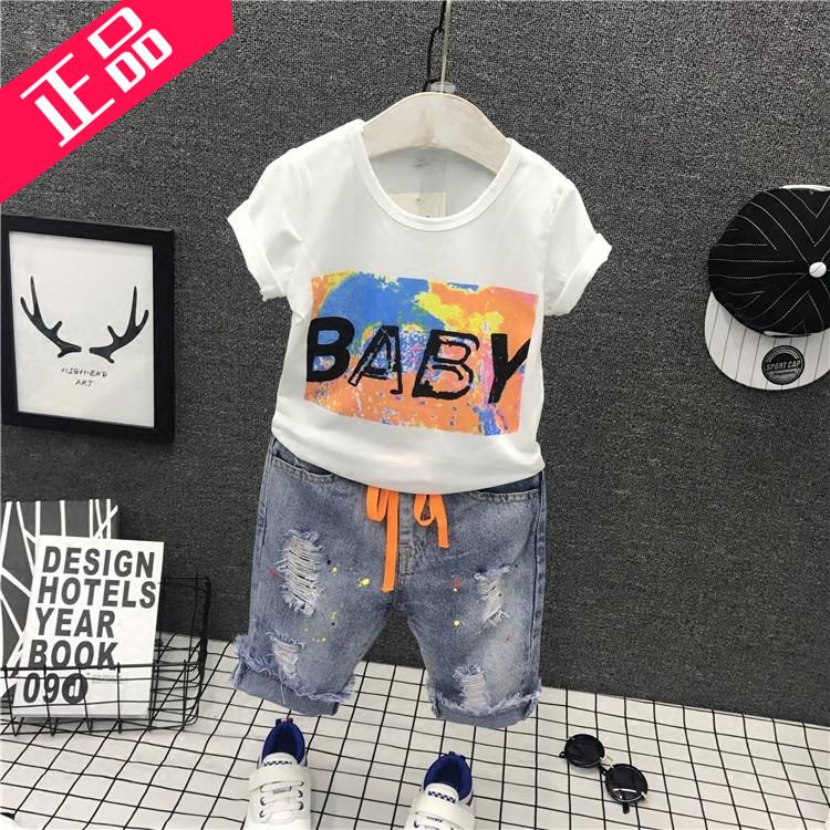 童装纯棉夏季短袖明星儿童时尚字母男童