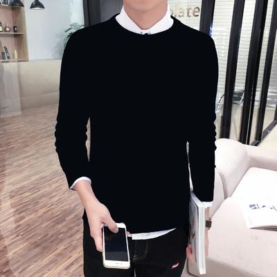 韩版男士毛线衣修身圆领打底衫毛衣针织衫加厚加绒高领紧身黑男装