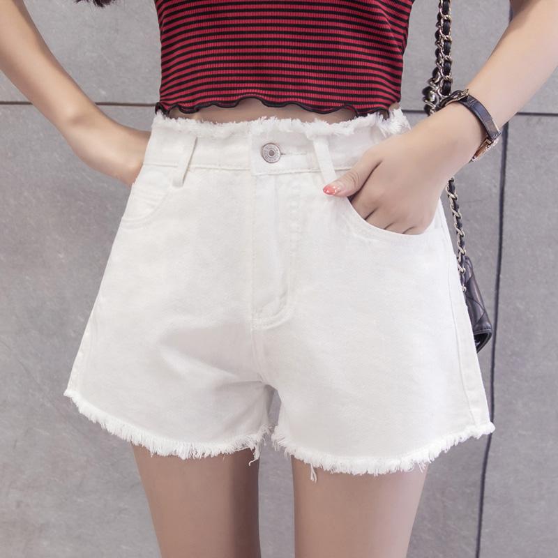 艾莎人夏女韓版學生毛邊短褲褲子高腰熱褲寬松牛仔白色