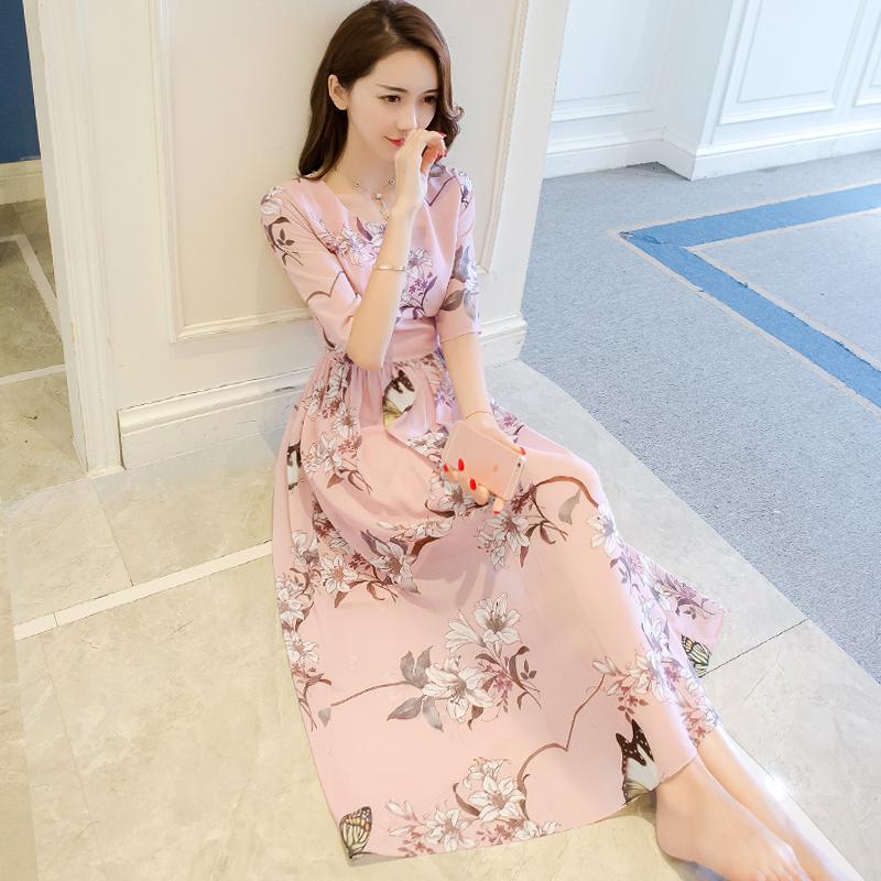 粉色裙子女夏季2017新款复古港味文艺名媛气质长裙印花雪纺连衣裙