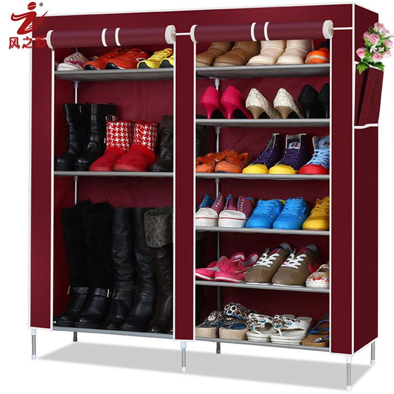 风之彩鞋柜简易多层组装防尘折叠铁艺收纳创意特价布
