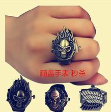 韩版情侣戒指手表男学生女个姓创意翻盖手指表时尚男士霸气指环表