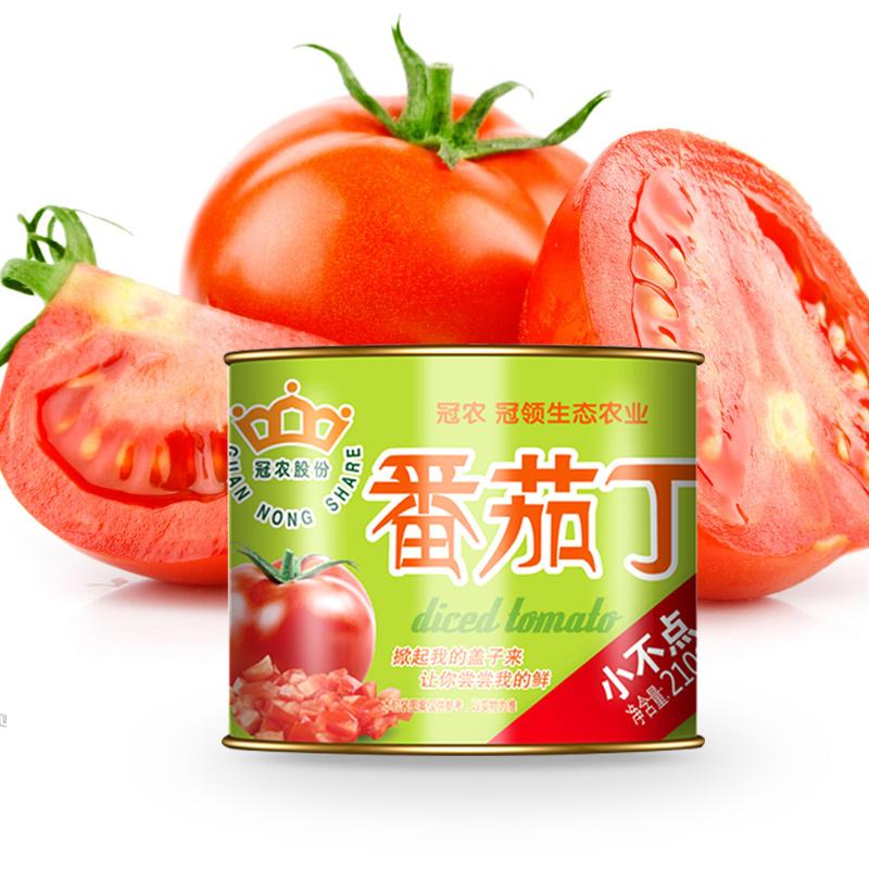 【冠农_鲜食番茄丁210g*6】新疆西红柿去皮碎块新鲜有机蔬菜罐头