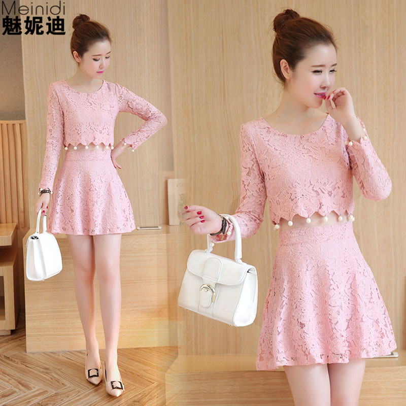 韩版修身长袖蕾丝连衣裙蕾丝假两件套