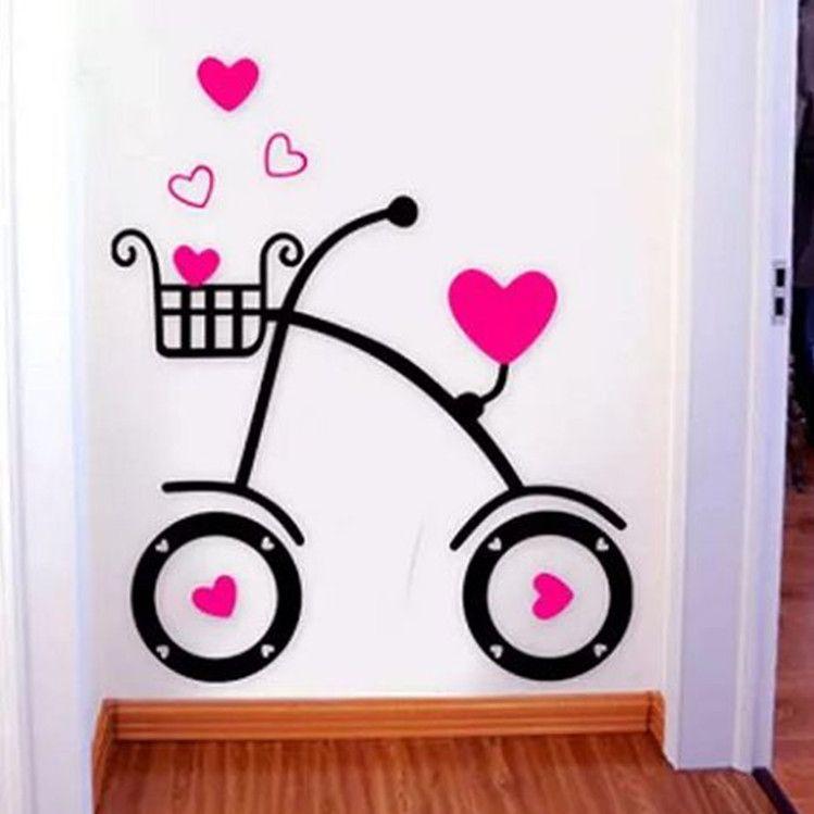 单车3D水晶立体墙贴纸亚克力玄关走道卧室墙幼儿园儿童房婚房包邮