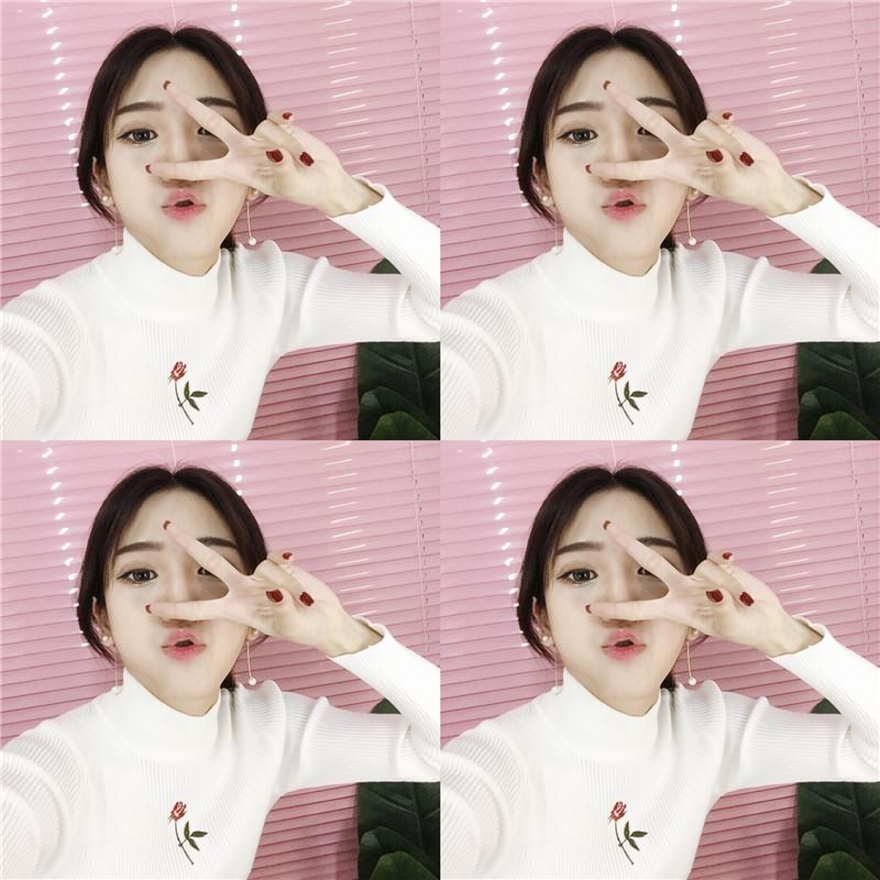 包邮!THE XIBI韩国风CHIC微高领小花朵针织毛衣
