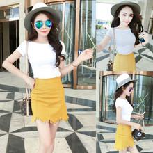 上衣 韩版 黄色包臀流苏半身短裙套装 气质百搭T恤衫 2016夏季新款