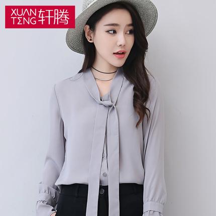 轩腾秋装新款韩版女装系带蝴蝶结长袖雪纺衬衫喇叭袖休闲女式衬衣