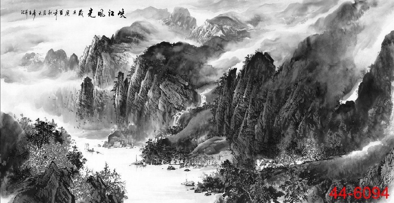 44-6094峡江图客厅四尺横幅水墨画家居字画字画书画山水画国画