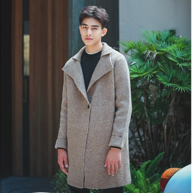 版型超好的男士双领毛呢外套