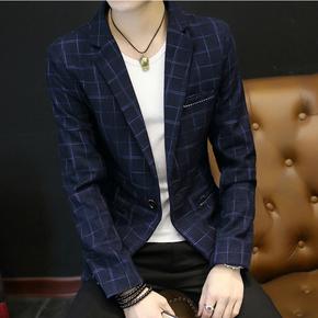 男士休闲西服韩版修身型小西装青年英伦时尚单西潮流加绒加厚外套