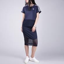 BQ5743 BQ5737 套装 adidas阿迪达斯三叶草17秋女休闲半身长裙短袖