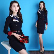 空姐制服春秋职业装女装套装时尚气质OL西装套裙面试正装女工作服图片