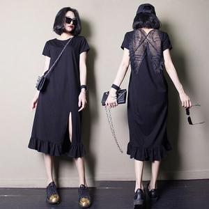 欧洲站2017夏装新款女装欧货气质宽松中长款开叉露背休闲连衣裙女女装