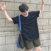 日系新款夏季男士简约纯色T恤休闲修身短袖圆领薄款半袖青年潮流