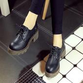 春秋季英伦复古女鞋粗跟中跟布洛克小皮鞋学院厚底系带圆头单鞋子