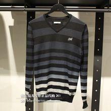 欧美范儿专柜正品SELECTED/思莱德男士纯棉V领黑色横条毛衣针织衫