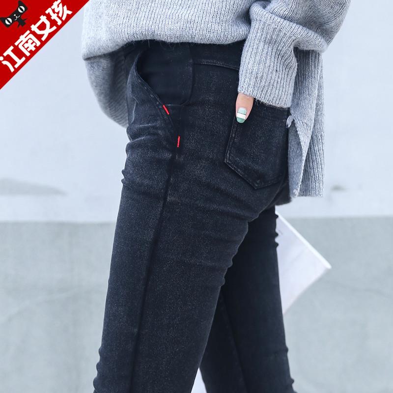小脚裤紧身铅笔裤长裤黑色裤子加绒女裤仿牛仔打底裤女外穿秋冬季