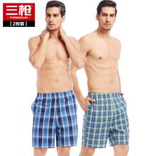 2条装 三枪夏季纯棉宽松睡裤短裤五分运动休闲男士家居裤沙滩裤图片