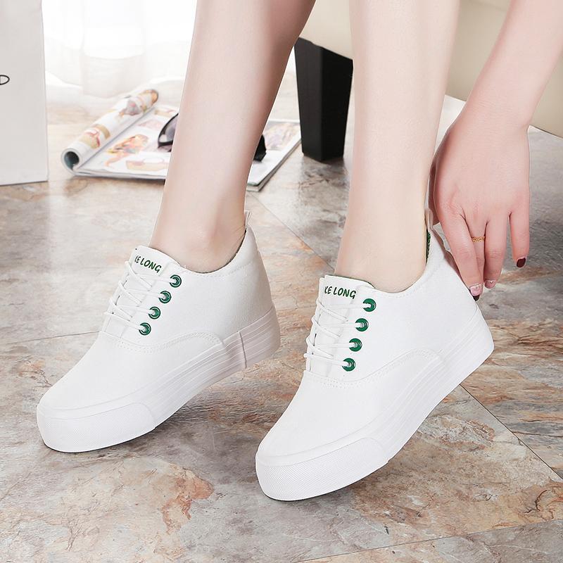 夏季休闲帆布鞋学生百搭厚底小白增高鞋子白色