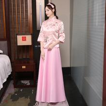 素壹品记中式结婚礼女姐妹伴娘团长款礼服民国五四古筝表演出服装