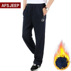 AFS JEEP抓绒裤冬季男士宽松加绒卫裤男直筒运动裤加厚保暖长裤子
