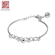 老银匠925银时尚可爱玫瑰花铃铛银手镯开口可调节甜美女士细银镯图片