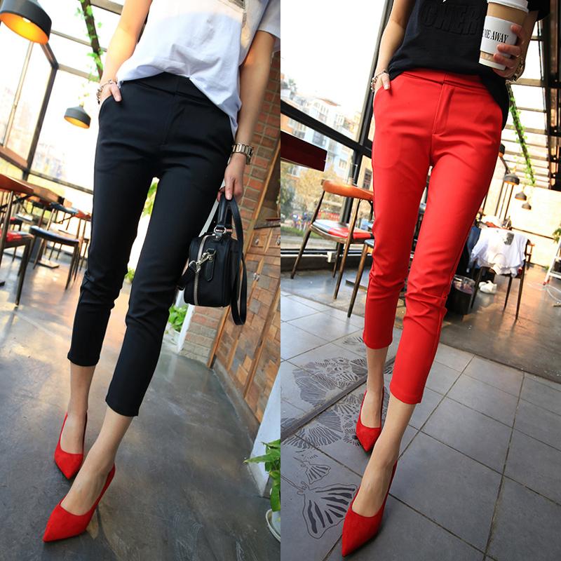 时尚铅笔黑色小脚纯色夏季九分裤女薄款潮西裤裤子休闲